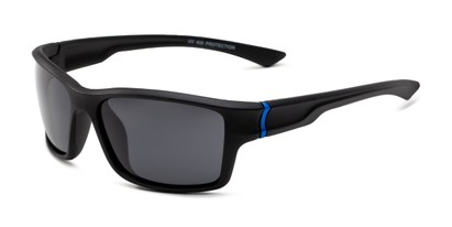 Angle of Mitchell in Black/Blue Frame with Smoke Lenses, Men's Sport & Wrap-Around Sunglasses