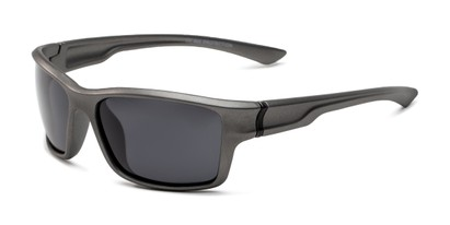 Angle of Mitchell in Grey/Black Frame with Smoke Lenses, Men's Sport & Wrap-Around Sunglasses