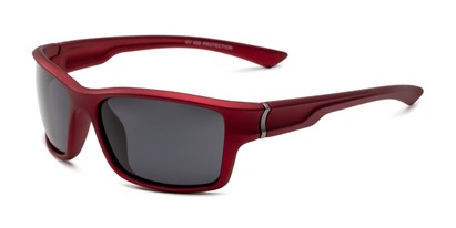 Angle of Mitchell in Red/Silver Frame with Smoke Lenses, Men's Sport & Wrap-Around Sunglasses