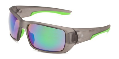 Angle of Moose by Scin in Matte Grey/Neon Green Frame with Green Mirrored Lenses, Men's Sport & Wrap-Around Sunglasses