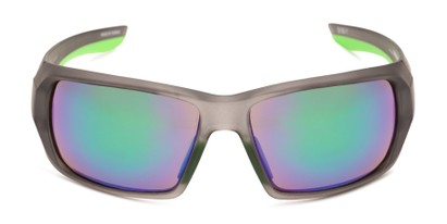 Front of Moose by Scin in Matte Grey/Neon Green Frame with Green Mirrored Lenses