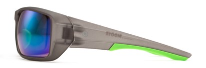 Side of Moose by Scin in Matte Grey/Neon Green Frame with Green Mirrored Lenses