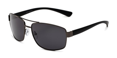 Angle of Ortiz in Matte Grey and Black Frame with Grey Lenses, Men's Aviator Sunglasses