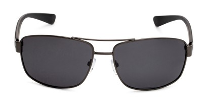 Front of Ortiz in Matte Grey and Black Frame with Grey Lenses