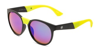 Angle of Peeper by Scin in Black/Neon Green Frame with Green Mirrored Lenses, Women's and Men's Round Sunglasses