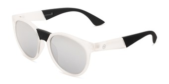 Angle of Peeper by Scin in Clear/Black Frame with Silver Mirrored Lenses, Women's and Men's Round Sunglasses