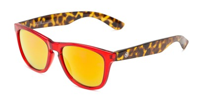 Angle of Pixie Stick by Scin in Glossy Red/Tortoise Frame with Red Mirrored Lenses, Women's Retro Square Sunglasses