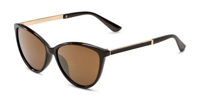 Angle of Polly in Brown Frame with Amber Lenses, Women's Cat Eye Sunglasses