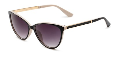 Angle of Polly in Black/Tan Frame with Smoke Gradient Lenses, Women's Cat Eye Sunglasses