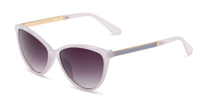 Angle of Polly in Lavendar Purple Frame with Smoke Gradient Lenses, Women's Cat Eye Sunglasses