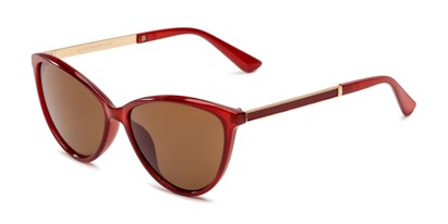 Angle of Polly in Red Frame with Amber Lenses, Women's Cat Eye Sunglasses