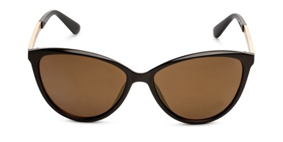 Front of Polly in Brown Frame with Amber Lenses