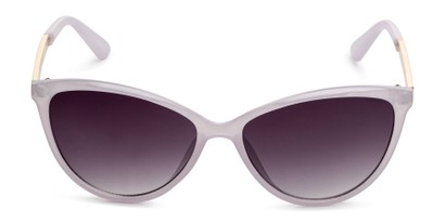 Front of Polly in Lavendar Purple Frame with Smoke Gradient Lenses
