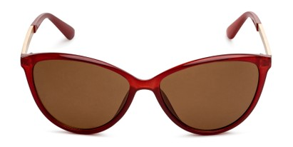 Front of Polly in Red Frame with Amber Lenses
