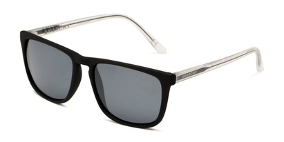 Angle of Ricochet by Anarchy in Matte Black Frame/Clear Temples with Smoke Lenses, Men's Retro Square Sunglasses