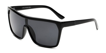 Angle of Ryland in Glossy Black Frame with Smoke Lenses, Women's and Men's Square Sunglasses