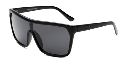 Angle of Ryland in Matte Black Frame with Smoke Lenses, Women's and Men's Square Sunglasses