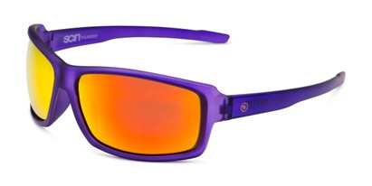 Angle of Skyler by Scin in Purple Frame with Red Mirrored Lenses, Men's Square Sunglasses