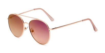 Angle of TR 2005 by Foster Grant in Gold Frame with Purple Mirrored Lenses, Women's Aviator Sunglasses