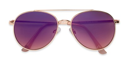 Folded of TR 2005 by Foster Grant in Gold Frame with Purple Mirrored Lenses