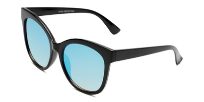 Angle of Tatum in Black Frame with Blue Lenses, Women's Cat Eye Sunglasses