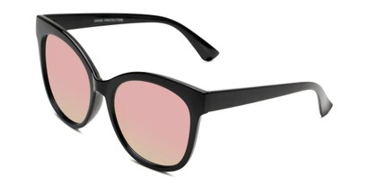 Angle of Tatum in Black Frame with Pink Lenses, Women's Cat Eye Sunglasses