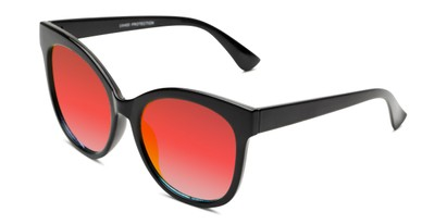 Angle of Tatum in Black Frame with Red Lenses, Women's Cat Eye Sunglasses