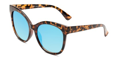 Angle of Tatum in Tortoise Frame with Blue Lenses, Women's Cat Eye Sunglasses