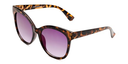 Angle of Tatum in Tortoise Frame with Purple Lenses, Women's Cat Eye Sunglasses