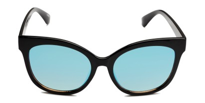 Front of Tatum in Black Frame with Blue Lenses
