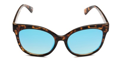 Front of Tatum in Tortoise Frame with Blue Lenses