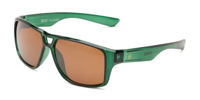 Angle of Tingo by Scin in Glossy Green Frame with Brown Mirrored Lenses, Men's Square Sunglasses