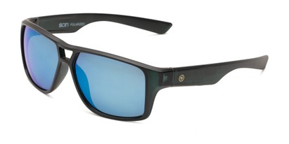 Angle of Tingo by Scin in Matte Black Frame with Blue Mirrored Lenses, Men's Square Sunglasses