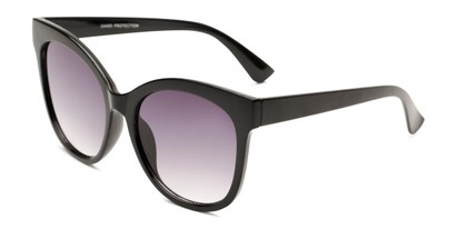 Angle of Valerie in Black Frame with Smoke Gradient Lenses, Women's Cat Eye Sunglasses
