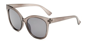 Angle of Valerie in Grey Frame with Grey Lenses, Women's Cat Eye Sunglasses