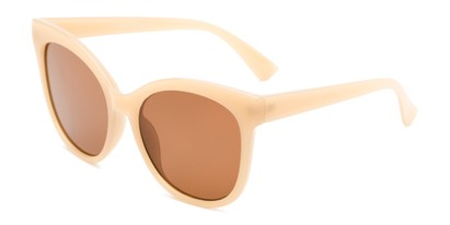 Angle of Valerie in Tan Frame with Amber Lenses, Women's Cat Eye Sunglasses