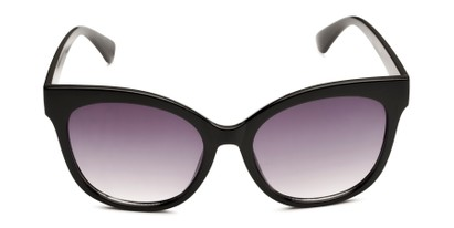 Front of Valerie in Black Frame with Smoke Gradient Lenses