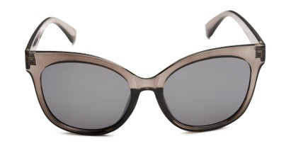 Front of Valerie in Grey Frame with Grey Lenses