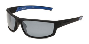 Angle of Vapor 16 by Body Glove in Matte Black Frame with Smoke Lenses, Men's Sport & Wrap-Around Sunglasses