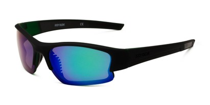 Angle of Vapor 17 by Body Glove in Green Frame with Blue/Green Mirrored Lenses, Men's Sport & Wrap-Around Sunglasses