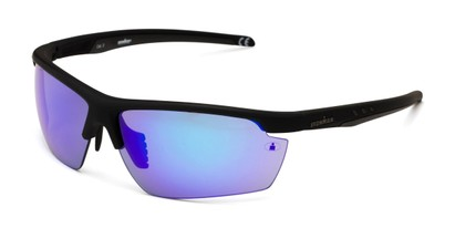 Angle of Vitality Anti-Fog by IRONMAN Triathlon in Matte Black Frame with Blue Revo Mirrored Lenses, Men's Sport & Wrap-Around Sunglasses