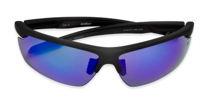 Folded of Vitality Anti-Fog by IRONMAN Triathlon in Matte Black Frame with Blue Revo Mirrored Lenses