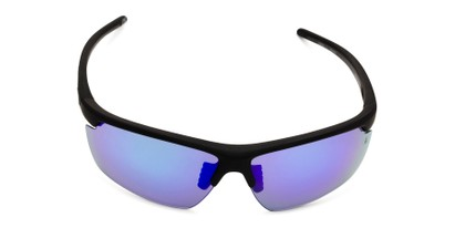 Front of Vitality Anti-Fog by IRONMAN Triathlon in Matte Black Frame with Blue Revo Mirrored Lenses