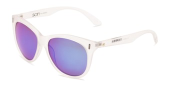 Angle of Xandra by Scin in Matte Clear Frame with Blue Mirrored Lenses, Women's Cat Eye Sunglasses
