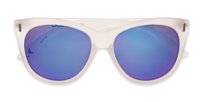 Folded of Xandra by Scin in Matte Clear Frame with Blue Mirrored Lenses