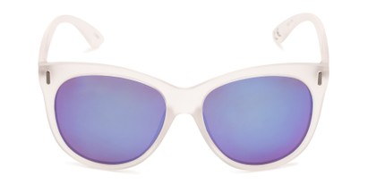 Front of Xandra by Scin in Matte Clear Frame with Blue Mirrored Lenses