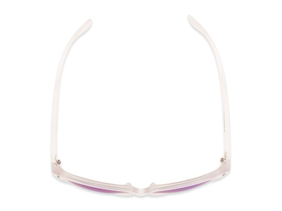 Overhead of Xandra by Scin in Matte Clear Frame with Blue Mirrored Lenses