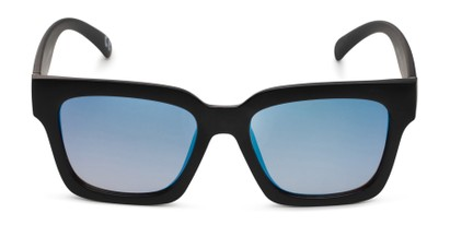 Front of Zuri by Foster Grant in Black Frame with Blue Mirrored Lenses