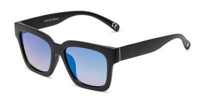 Angle of Zuri by Foster Grant in Black Frame with Blue Mirrored Lenses, Women's Square Sunglasses
