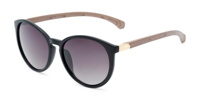 Angle of Sabine #3215 in Black/Tan Frame with Smoke Lenses, Women's Round Sunglasses